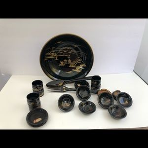 Other - Japanese Lacquer Wooden hand painted dinnerware.